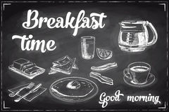 Vector hand drawn breakfast and branch background Stock Image