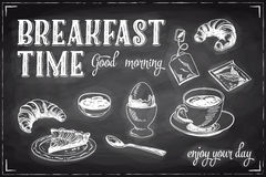 Vector hand drawn breakfast and branch background Stock Images