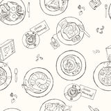Vector hand drawn breakfast seamless pattern. Stock Photos