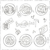 Vector hand drawn breakfast set. Royalty Free Stock Images