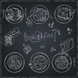 Vector hand drawn breakfast set. Vintage illustration Royalty Free Stock Image