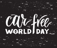 Vector hand drawn brush pen lettering World Car Free Day. Black color on chalkboard background with texture. Modern calligraphy for greeting card, print royalty free illustration