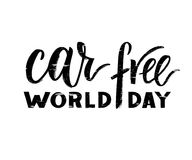 Vector hand drawn brush pen lettering World Car Free Day. Black color with texture. Modern calligraphy for greeting card, print, poster. Support social vector illustration