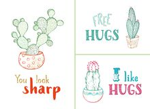 Vector hand-drawn cacti and hand-written lettering. Stock Image