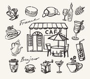 Vector hand drawn of cafe Stock Images
