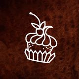 Vector hand drawn cake with berry. Hand drawn Royalty Free Stock Photos