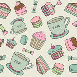 Vector hand drawn cakes, sweets, macaroons, tea Royalty Free Stock Photography