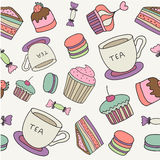 Vector hand drawn cakes, sweets, macaroons, tea Royalty Free Stock Photo