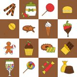 Vector hand drawn candy chop icons Royalty Free Stock Photo