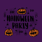 "Vector hand-drawn card with inscription ""Halloween party"". It can be used for invitation cards, brochures, poster etc Stock Photos"