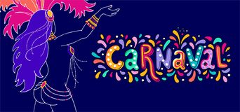 Vector Hand drawn Carnaval Lettering. Carnival Title With Colorful Party Elements, confetti and brasil samba dansing stock illustration