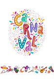Vector Hand drawn Carnaval Lettering. Carnival Title With Colorful Party Elements, confetti and brasil samba dansing. Vector Hand drawn Carnaval Lettering. Party stock illustration