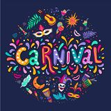 Vector Hand drawn Carnaval Lettering. Carnival Title With Colorful Party Elements, confetti and brasil samba dansing vector illustration