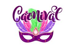 Vector hand drawn carnival mask with feathers and lettering Carnival for Brasil carnaval, Mardi Gras, Spain carnival festival. Concept for celebration poster vector illustration
