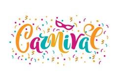 Vector hand drawn carnival text for carnaval party invitation, Brazil or Venetian event, Mardi Gras concept, festival or. Masquerade logo. Festive mood concept stock illustration