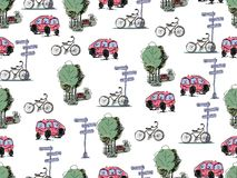 Vector hand drawn cars and bicycles. Seamless pattern. Vector hand drawn cars and bicycles on a white background. Seamless pattern Royalty Free Illustration