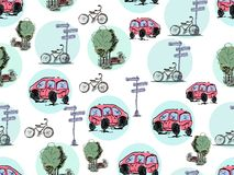 Vector hand drawn cars and bicycles. Seamless pattern. Vector hand drawn cars and bicycles on a white background. Seamless pattern Royalty Free Stock Photos