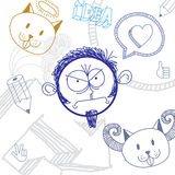 Vector hand drawn cartoon angry boy. Education theme graphic des Stock Photography
