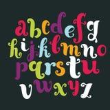 Vector hand drawn cartoon english color alphabet Stock Photos