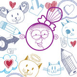 Vector hand drawn cartoon happy smiling girl with modern haircut Stock Image