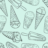Vector hand drawn cartoon ice cream illustration. Royalty Free Stock Images