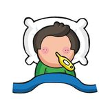 Vector hand-drawn cartoon of man lying in bed sick with flu with. Vector hand-drawn cartoon illustration of man lying in bed sick with flu with thermometer Stock Photo