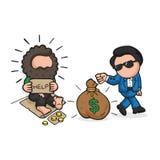 Vector hand-drawn cartoon of rich man giving money bag to homeless. Vector hand-drawn cartoon illustration of rich man giving money bag to homeless on sidewalk royalty free illustration