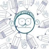 Vector hand drawn cartoon surprised boy. Education theme graphic Royalty Free Stock Photos