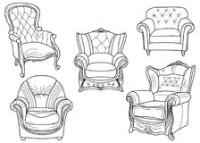 Hand drawn chair. Vector hand drawn chair on a white background Royalty Free Stock Photos