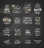 Vector hand-drawn chalk lettering quotes about sea / ocean. Stock Photography