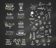 Vector hand-drawn chalk lettering quotes about sea / ocean. Royalty Free Stock Image