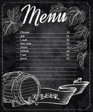 Vector hand drawn chalkboard beer menu with cones and leaves of hop and beer barrel Royalty Free Stock Photo