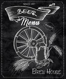 Vector hand drawn chalkboard with beer menu. Contains wheel, beer mug, crayfish and ears of wheat Stock Photo