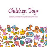 Vector hand drawn children or kid toys illustration royalty free illustration