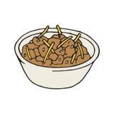 Vector hand drawn chili bowl icon. Mexican vector illustration