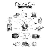 Vector hand drawn chocolate cake illustration. Sketch. Simple chocolate cake  recipe Royalty Free Stock Photo