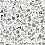 Vector Hand Drawn Christmas Doodles Seamless Background. Royalty Free Stock Photography