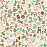 Vector Hand Drawn Christmas Doodles Seamless Background. Royalty Free Stock Photo