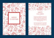 Vector hand drawn christmas elements with santa, xmas tree, gifts and bells card template royalty free illustration