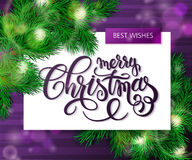 Vector hand drawn christmas lettering greetings text - merry christmas- with christmas brunch on watercolor striped Stock Photo