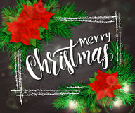 Vector hand drawn christmas lettering greetings text - merry christmas - with frame, christmas brunch, poinsettia Royalty Free Stock Images