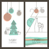 Vector hand drawn Christmas, New Year greeting card Stock Images