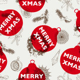 Vector hand drawn Christmas pattern. Vintage Seamless christmas background Stock Images