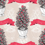Vector hand drawn Christmas pattern Royalty Free Stock Image