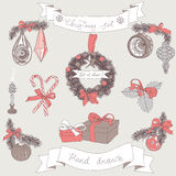 Vector hand drawn christmas set Stock Photography
