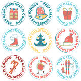 Vector hand drawn Christmas stamps Royalty Free Stock Image