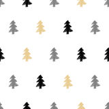 Vector hand drawn Christmas tree, fir seamless pattern in ethnic Stock Photos