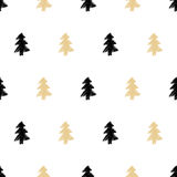 Vector hand drawn Christmas tree seamless pattern in ethnic trib Royalty Free Stock Images