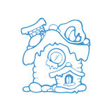 Vector hand drawn christmas or winter house Royalty Free Stock Photo