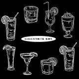 Vector hand drawn of cocktails set on black background. royalty free illustration
